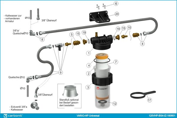 Carbonit Vario-HP Universal (Variante A) Anleitung Wasserfilter